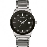Gents Stainless Steel 8Rd Dia Black Domed Dial