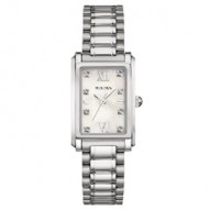 Ladies Stainless Steel Rect White Mop Dial 8R