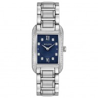 Ladies Stainless Steel Rect Blue Dial 28Rd Di