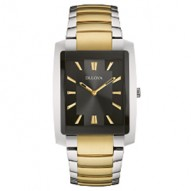 Gents Stainless Steel Yellow Tt Rect Black Dial 3