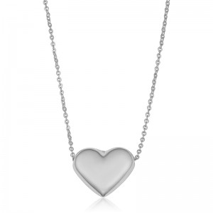 White Gold Puffed Heart Necklace
