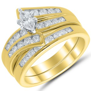 52d06de0ed182b 1 ctw Diamond & 14 Karat Yellow Gold Bridal Set