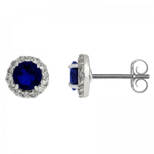 Created Sapphire Earring