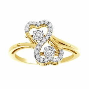 1/5 ctw Diamond & 10 Karat Yellow Gold Infinite Love Ring