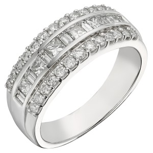 1 CT Princess and Baguette Diamond Ring